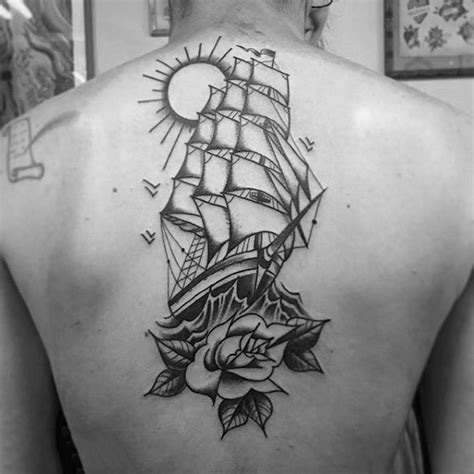 ship and rose tattoo 60 traditional ship designs for nautical ink
