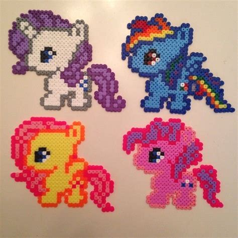my pony perler mlp babies rarity rainbow dash fluttershy and pinkie