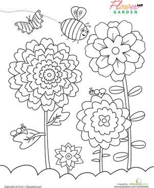 preschool nature coloring pages coloring for preschool nature kindergarten flower garden