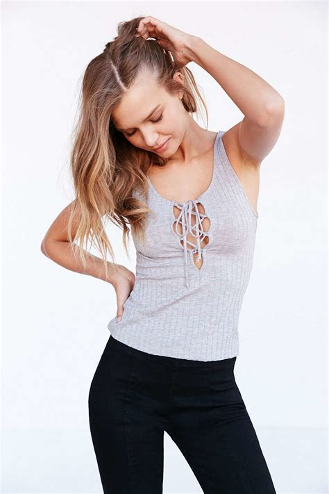 Ribbed Lace Up Tank Top Gray project social t lace up ribbed tank top in gray lyst