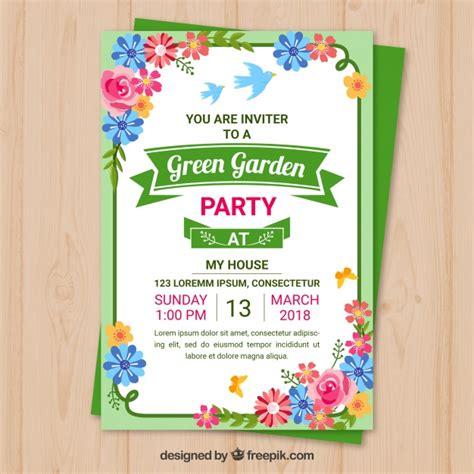 per invite template garden invitation template design vector free