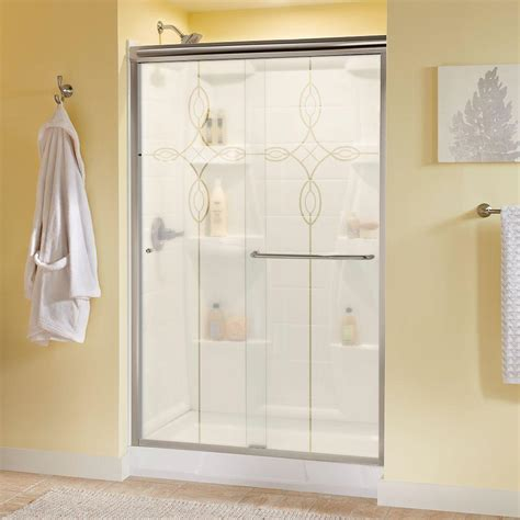 Delta Shower Doors Delta Simplicity 48 In X 70 In Semi Framed Sliding Shower Door In Nickel With Tranquility