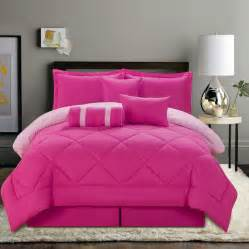 7 pc solid pink reversible comforter set size new ebay