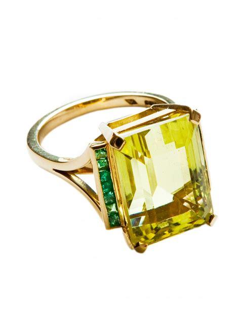lemon citrine emerald cocktail ring rings jewellery