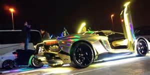 Neon Lamborghini Lamborghini Aventador With Neon Lights Revs In Japan