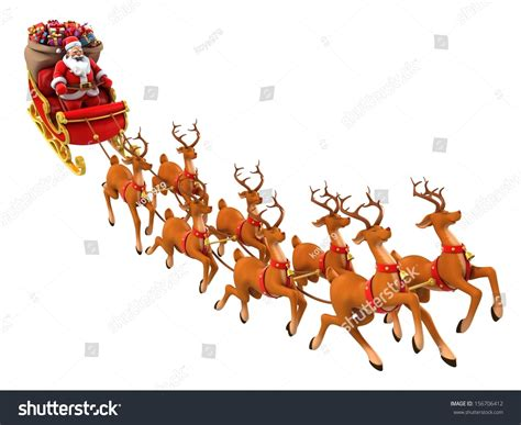 animated photos of christmas santa claus with reindeer santa claus rides reindeer sleigh on stock illustration 156706412