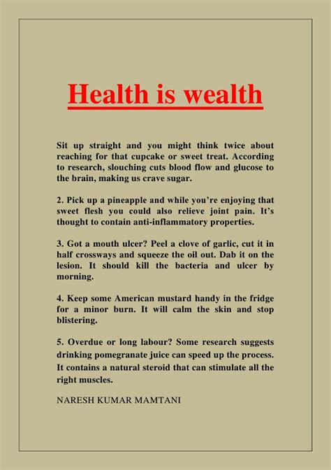 Essay About Health by Health Is Wealth
