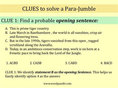 rugged sentence para jumbles