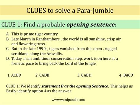 sentence for rugged para jumbles