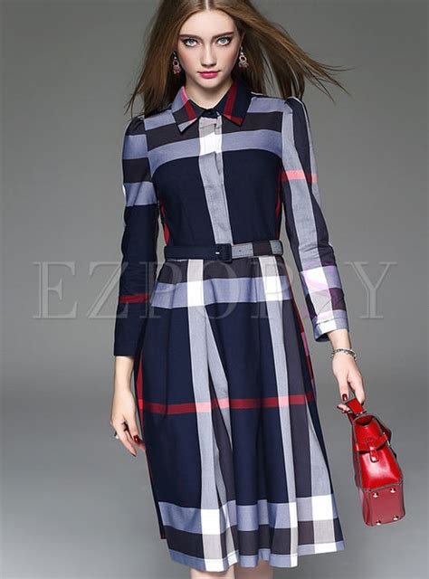 Grid Collar Dress turn collar grid skater dress ezpopsy