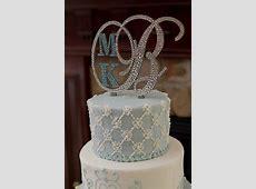 Monogram Wedding Cake Topper Crystal Initial Any Letter A ... M Monogram Wedding Cake Toppers