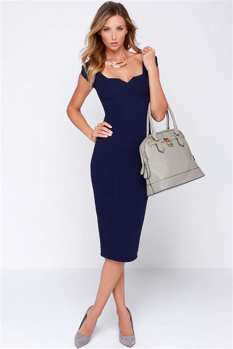lulu s navy blue dress midi dress bodycon dress 64 00