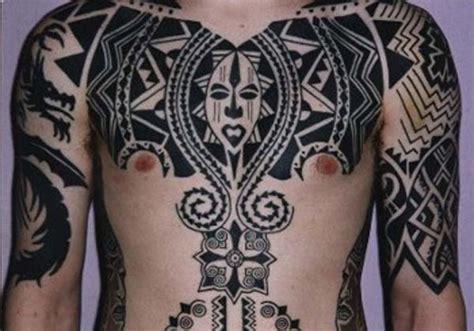 black tribal on chest