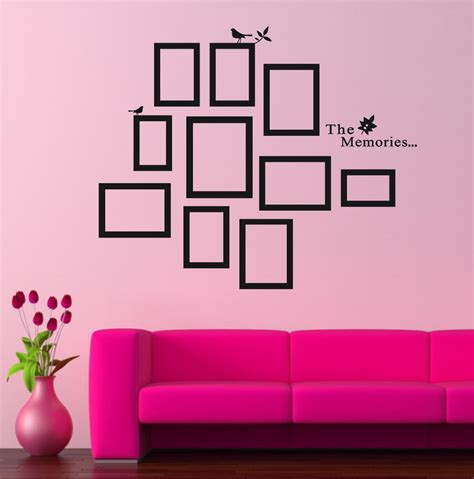 room wall decorations diy photo frame black removable vinyl wall stickers