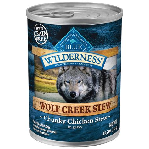 blue wolf food blue buffalo wilderness wolf creek stews canned food chicken petco
