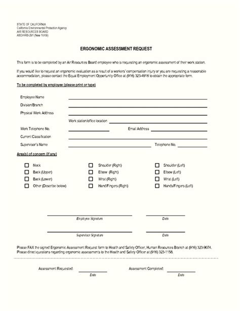 ergonomic assessment form free template update234 com