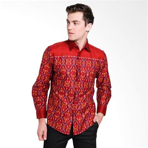 Kemeja Batik Songket Slim Fit Pria jual batik arjunaweda songket denim kemeja batik pria merah tua 58170087 harga