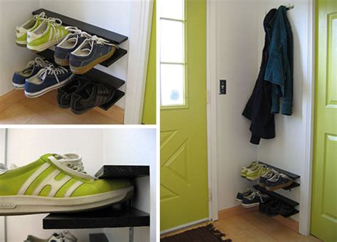 diy shoe rack by front door paired down diy elegantly simple space saving shoe rack