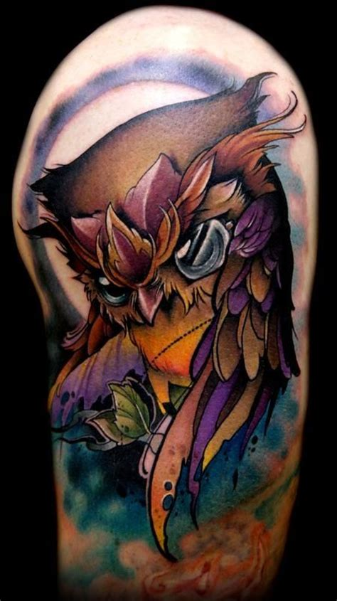 new skool tattoos new school owl tat color owl tattoos new