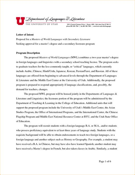 graduate school letter of intent template 13 grad school letter of intent sle invoice template