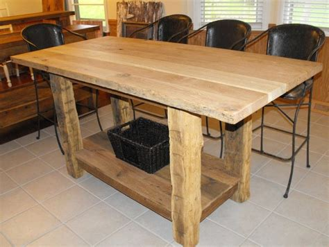 3 x5 counter height kitchen island with hand hewn legs