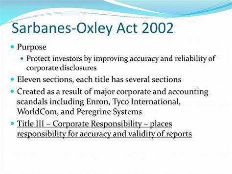sarbanes oxley act of 2002 section 404 ppt ethics code of conduct performance expectations