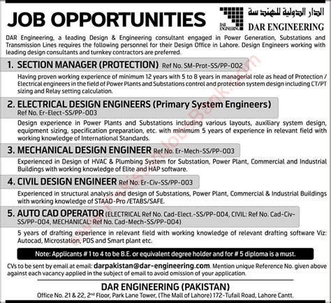pattern drafting jobs dar engineering lahore jobs 2015 june design engineers