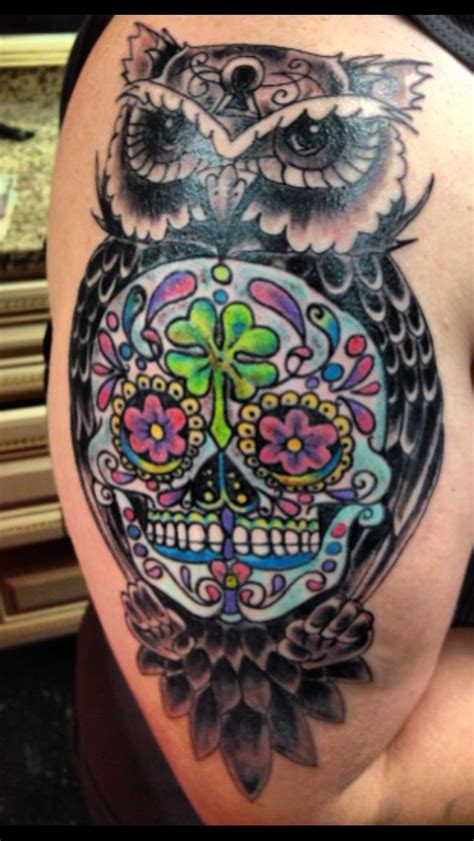 owl and skull tattoo my newest owl surrounding my sugar skull