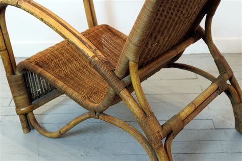 vintage bamboo rattan lounge chair for sale at pamono