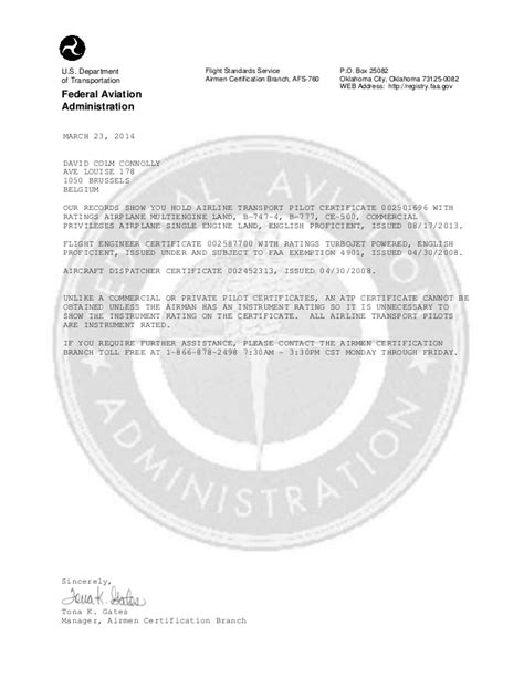 Faa Service Letter Definition caac fcf faa certification verification letter of march 23 2014 for