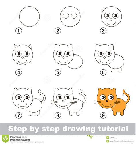 Easy Kid Drawings Step By Step by Drawing Tutorial How To Draw A Small Kitten Stock Vector