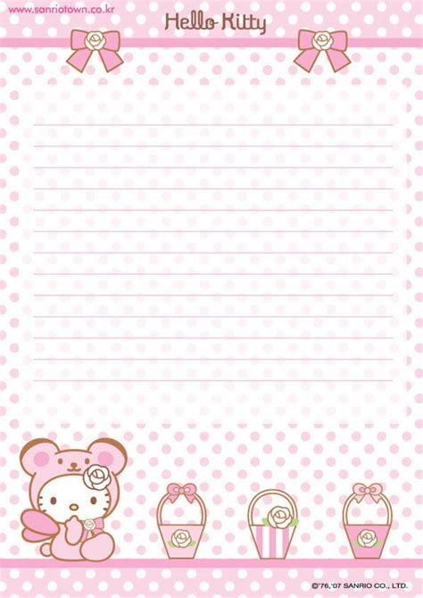 Printable Hello Kitty Notebook Paper | hello kitty printable notepad paper 4 jpg 595 215 842 pixels