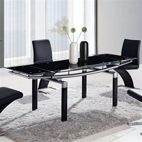 Dining Table Black Legs Global Usa 88dt Rectangular Black Glass Dining Table W Black Legs Tanga
