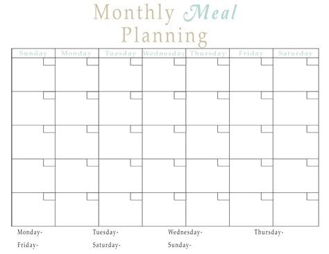 search results for printable monthly meal planner