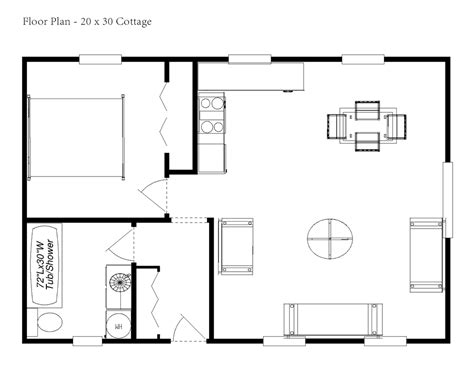 cottage floor plan one bedroom cottage floor plans