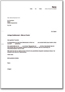 Brief Anfrage Finanzielle Unterstützung Anfrage Bei Der Bank Kreditwunsch Und Terminvereinbarung De Musterbrief
