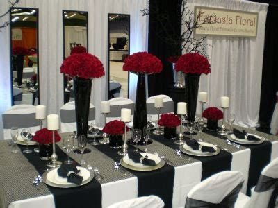 black and white table setting red and silver wedding theme red and silver wedding