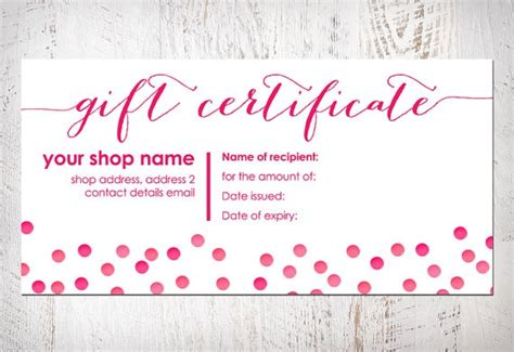 gift certificate bow card printable item by
