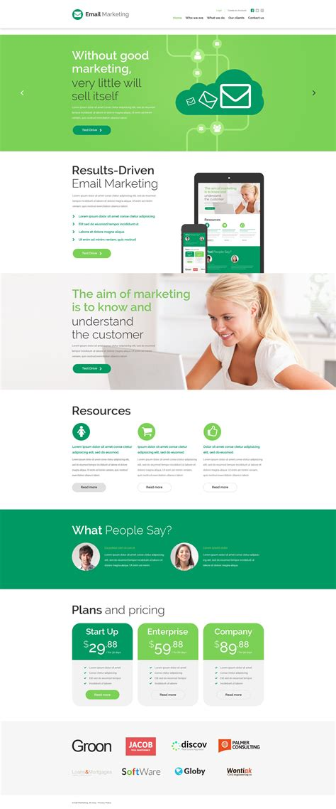 email advertising template marketing agency website template