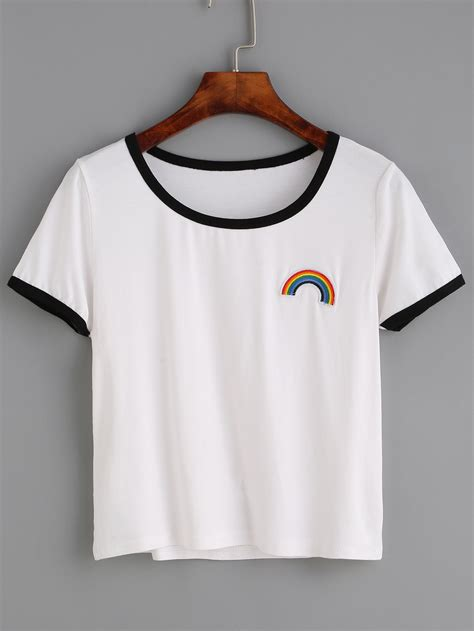 Embroidered Shirt white contrast trim rainbow embroidered t shirtfor romwe