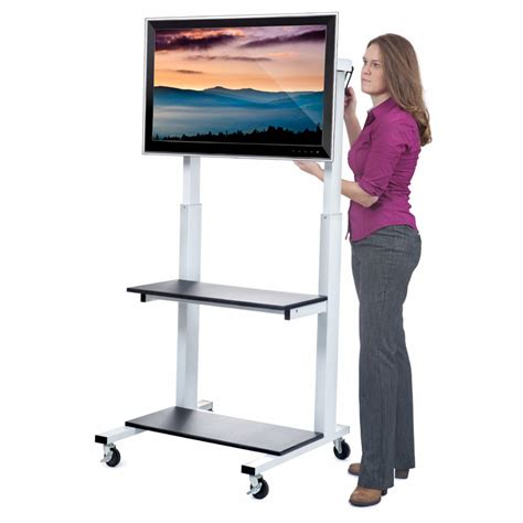 80 Inch Tv Clearance by Luxor Crank Adjustable Tv Cart For 32 80 Inch Screens Clcd