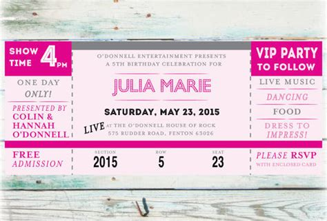 concert ticket invitations template concert ticket invitation template