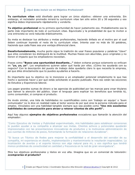 Modelo Curriculum Vitae Objetivo Profesional Qu 233 Debo Incluir En Mi Objetivo Profesional 2012