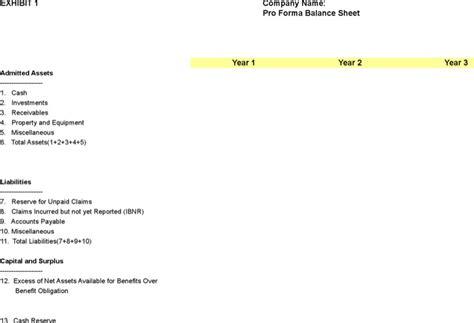pro forma balance sheet template pro forma excel templates free premium