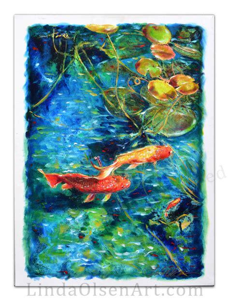 acrylic painting koi fish koi fish in pond