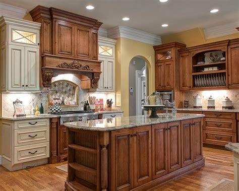 mixing wood  painted cabinets houzz