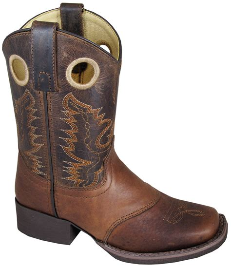 smoky mountain boots youth boys luke brown leather cowboy