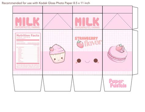 papercraft printable templates 9 best images of milk kawaii printable papercraft kawaii