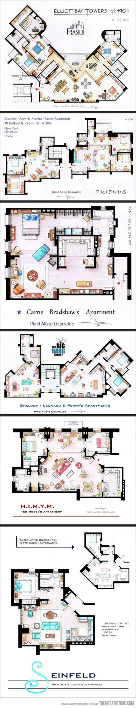 big bang theory floor plan floor plans from tv series the big bang theory f r i e n