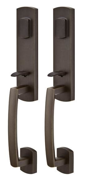 emtek door hardware emtek door hardware emtek sandcast logan grip by grip entrance handleset
